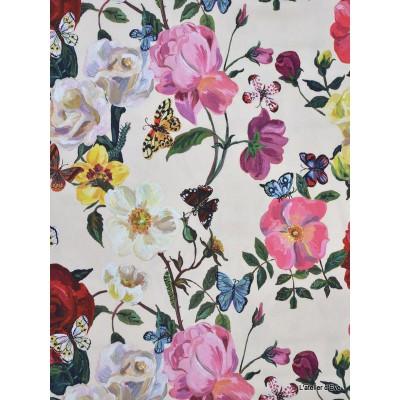 Villa des roses 3 coloris Rideau a oeillets pret a poser percale coton L.135cm Fleurs fond creme 1644601 le rideau