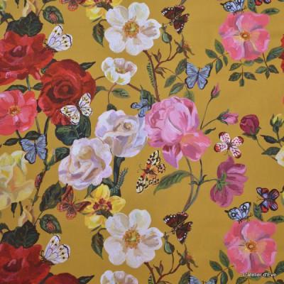 Villa des roses Rideau a oeillets pret a poser percale ameublement coton Fleurs fond or 1644602 le rideau