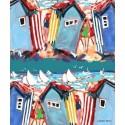 St martin plage Tissu ameublement coton fond emeraude L.140cm Thevenon 1483622 le metre