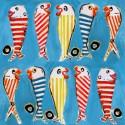 Les poissons Rideau a oeillets pret a poser coton L.135cm Poissons fond bleu Thevenon 1628622 le rideau
