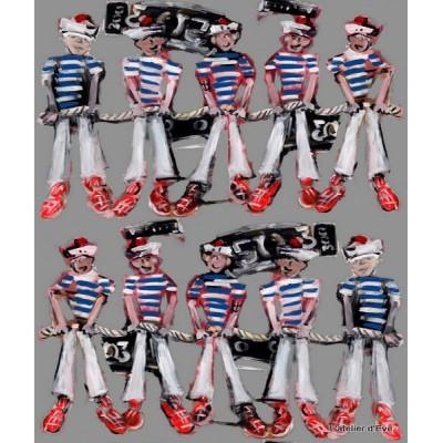 Les pompons Rideau a oeillets pret a poser coton L.135cm Marins fond brouillard Thevenon 1628621 le rideau