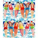 Les soeurs b Rideau a oeillets pret a poser coton L.135cm fond bleu Thevenon 1627622 le rideau