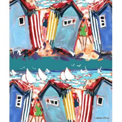 St martin plage Rideau a oeillets pret a poser coton fond bleu L.135cm Thevenon 1483622 le rideau