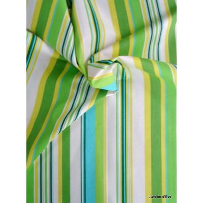 Manon 13 coloris Tissu ameublement coton rayures L.280cm celadon/vert Thevenon 1421632 le metre