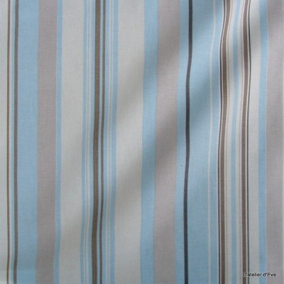 Manon Tissu ameublement coton rayures L.280cm ciel/brouillard Thevenon 1421634 le metre