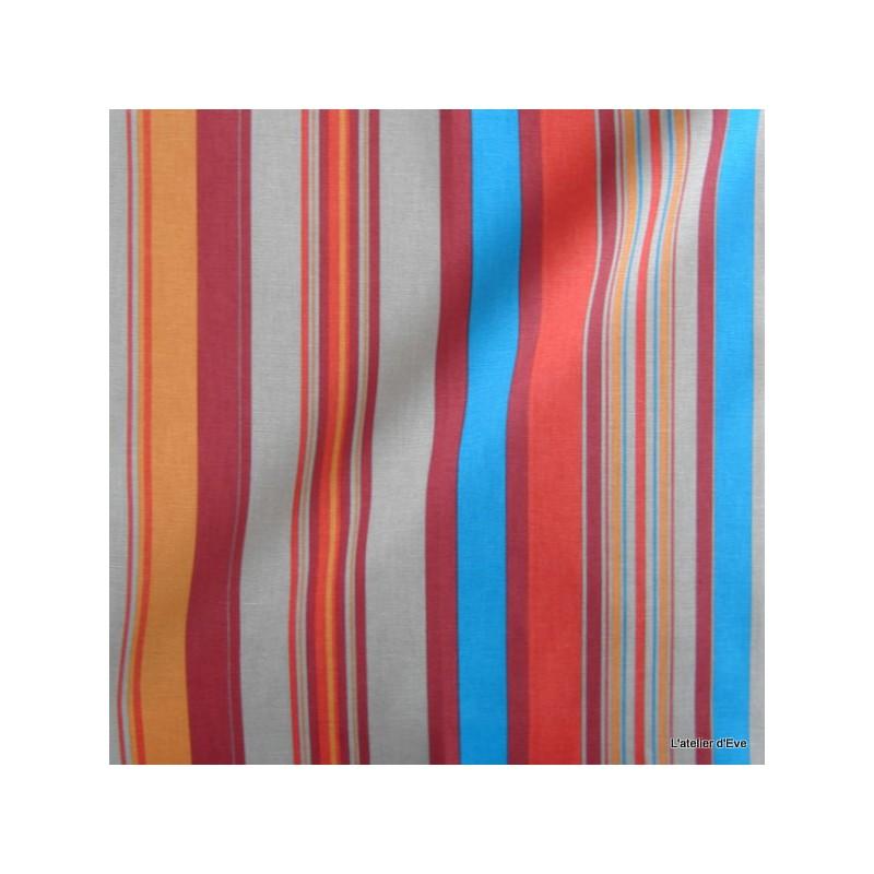Manon Tissu ameublement coton rayures L.280cm turquoise/tomate fond ardoise Thevenon 1421636 le metre