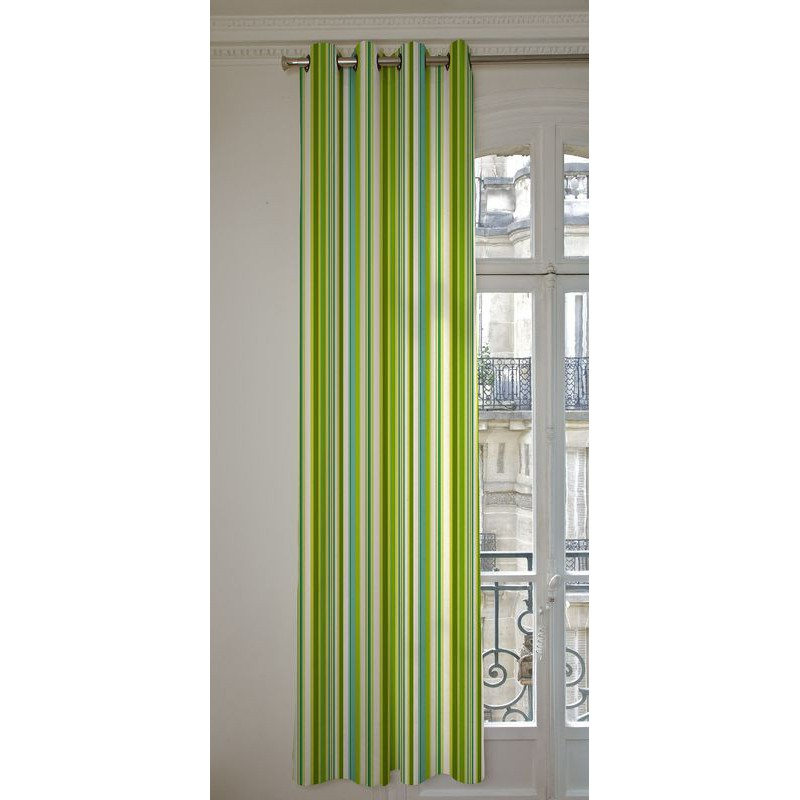 Manon 13 coloris Rideaux a oeillets pret a poser bachette coton L.135cm rayures celadon/vert 1421632 le rideau