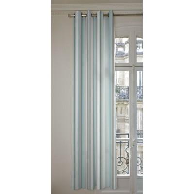 Manon Rideaux a oeillets pret a poser bachette coton L.135cm rayures ciel/brouillard 1421634 le rideau