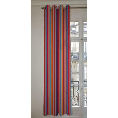 Manon Rideaux a oeillets pret a poser bachette coton L.135cm rayures turquoise/tomate fond ardoise 1421636 le rideau