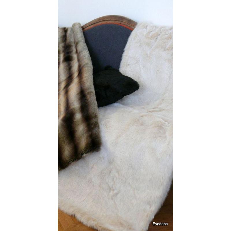 Plaid fake fur white mink optics 140x180cm Thévenon