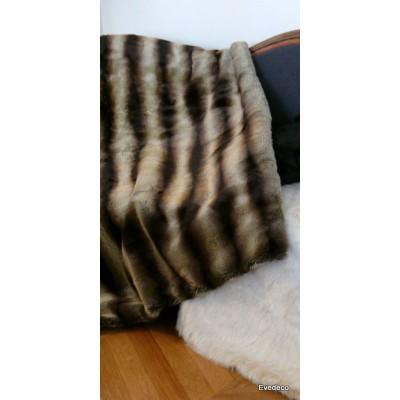 Plaid fake fur mink Brown 140x180cm Thévenon