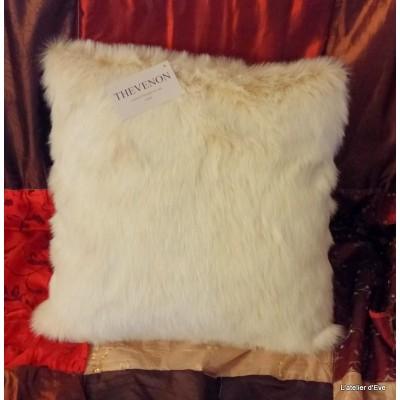 Housse de coussin fausse fourrure vison blanc 45x45cm Thevenon