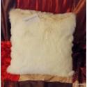 Housse de coussin fausse fourrure vison blanc 45x45cm Thevenon 1338-02
