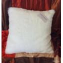 Housse de coussin fausse fourrure vison blanc optique 45x45cm Thevenon 1338-06