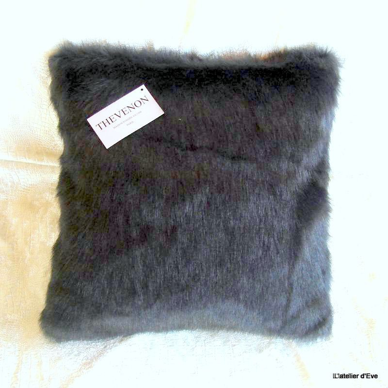 Cushion cover faux fur anthracite mink 45x45cm Thevenon 1338-07