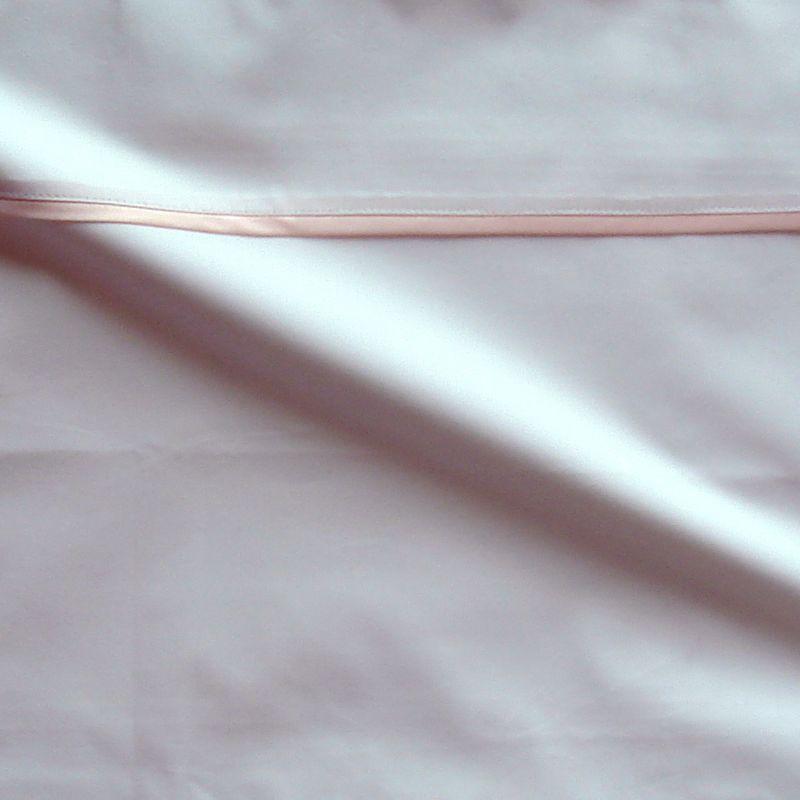 Taie d oreiller percale coton blanc finition biais satin rose 50x70cm CF1239.rose Thevenon