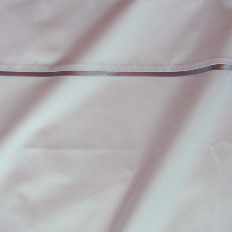 Taie d oreiller percale coton blanc finition biais satin gris 65x65cm CF1240.gris Thevenon