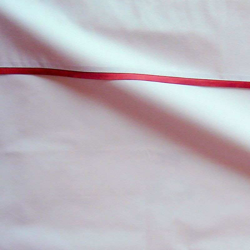Taie d oreiller percale coton blanc finition biais satin rouille 65x65cm CF1240.rouille Thevenon