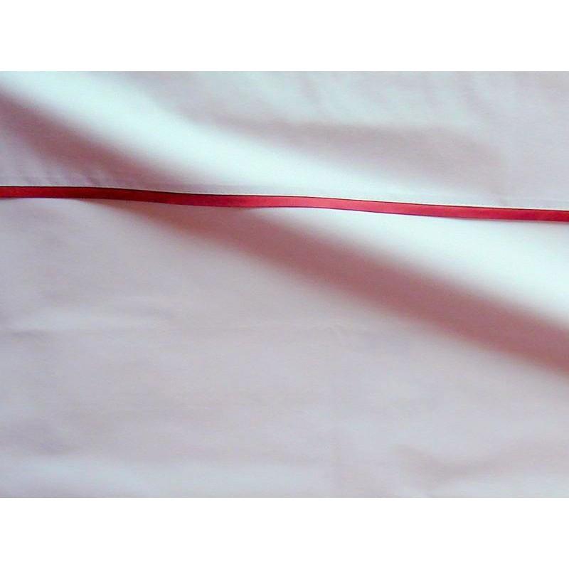 Drap plat percale coton blanc finition biais satin rouille 180x310cm CF1236.rouille Thevenon