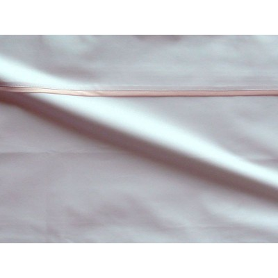 Drap plat percale coton blanc finition biais satin rose 180x310cm CF1236.rose Thevenon