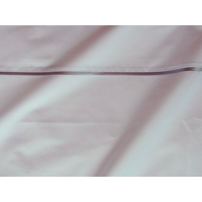 Drap plat percale coton blanc finition biais satin gris 240x310cm CF1237.gris Thevenon