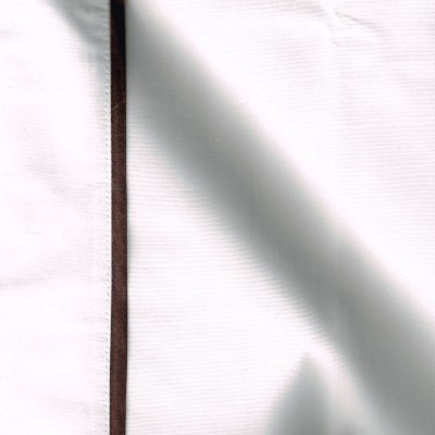 Taie de traversin percale coton blanc finition biais satin marron 45x150cm CF1241.marron Thevenon