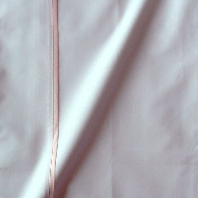 Taie de traversin percale coton blanc finition biais satin rose 45x150cm CF1241.rose Thevenon