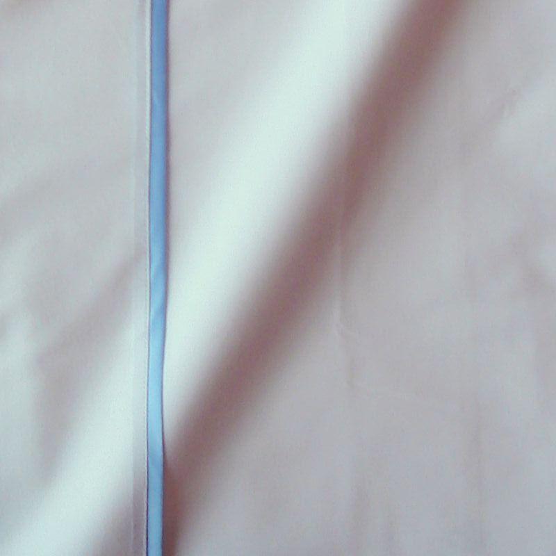 Taie de traversin percale coton blanc finition biais satin bleu 45x150cm CF1241.bleu Thevenon