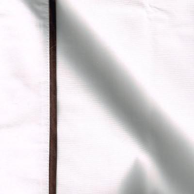 Taie de traversin percale coton blanc finition biais satin marron 45x220cm CF1242.marron Thevenon