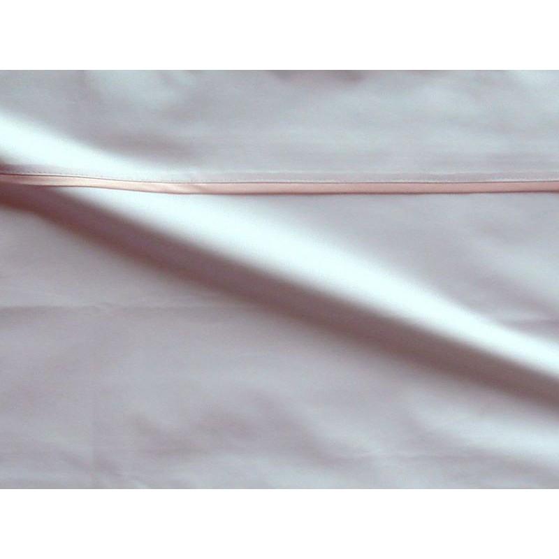Housse de couette percale coton blanc finition biais satin rose 200x200cm CF1244.rose Thevenon