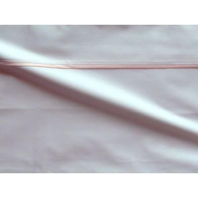 Parure de drap percale coton blanche finition biais satin rose Thevenon