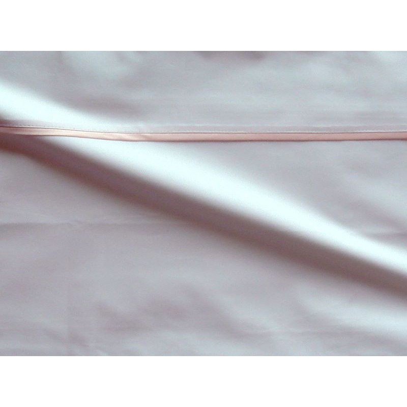 Drap plat percale coton blanche finition biais satin rose 280x310cm CF1238.rose Thevenon