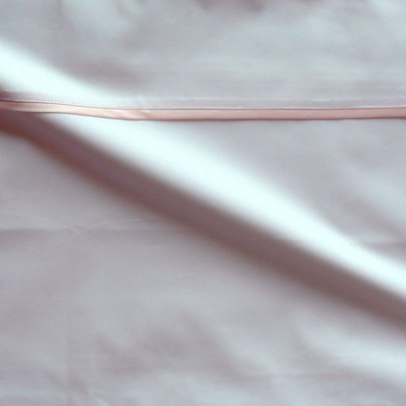 Taie d oreiller percale coton blanche finition biais satin rose 65x65cm CF1240.rose Thevenon