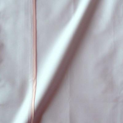 Taie de traversin percale coton blanche finition biais satin rose 45x150cm CF1241.rose Thevenon