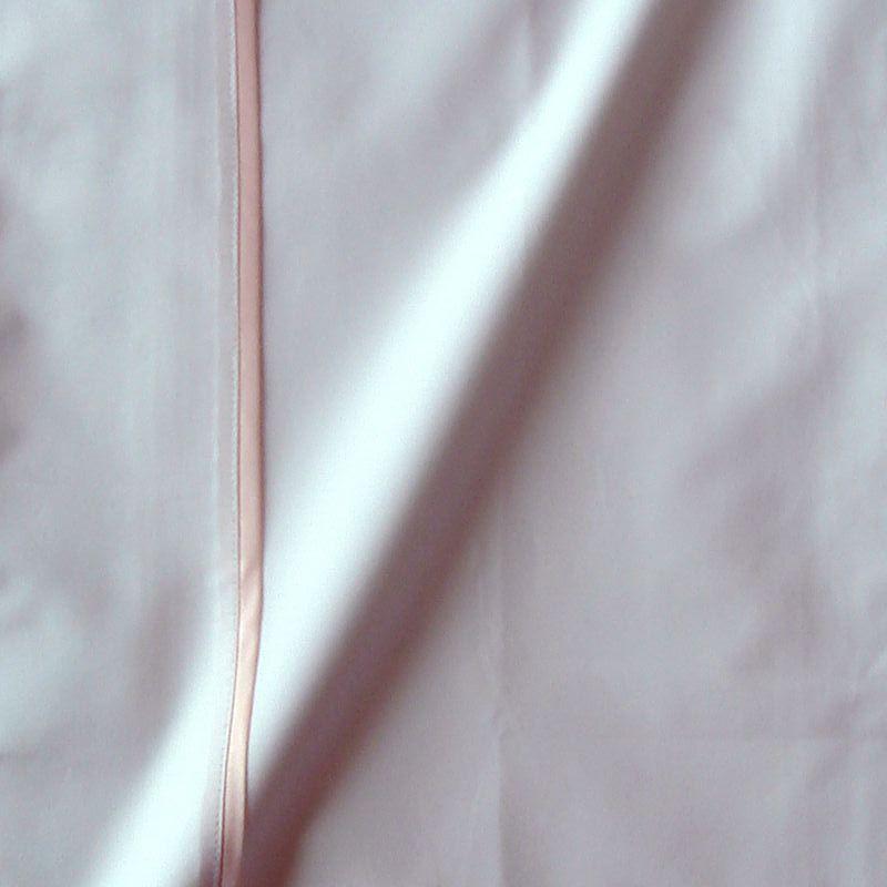 Taie de traversin percale coton blanche finition biais satin rose 45x220cm CF1242.rose Thevenon