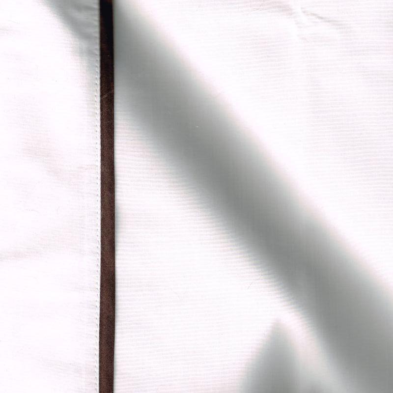 Taie de traversin percale coton blanche finition biais satin marron 45x220cm CF1242.marron Thevenon