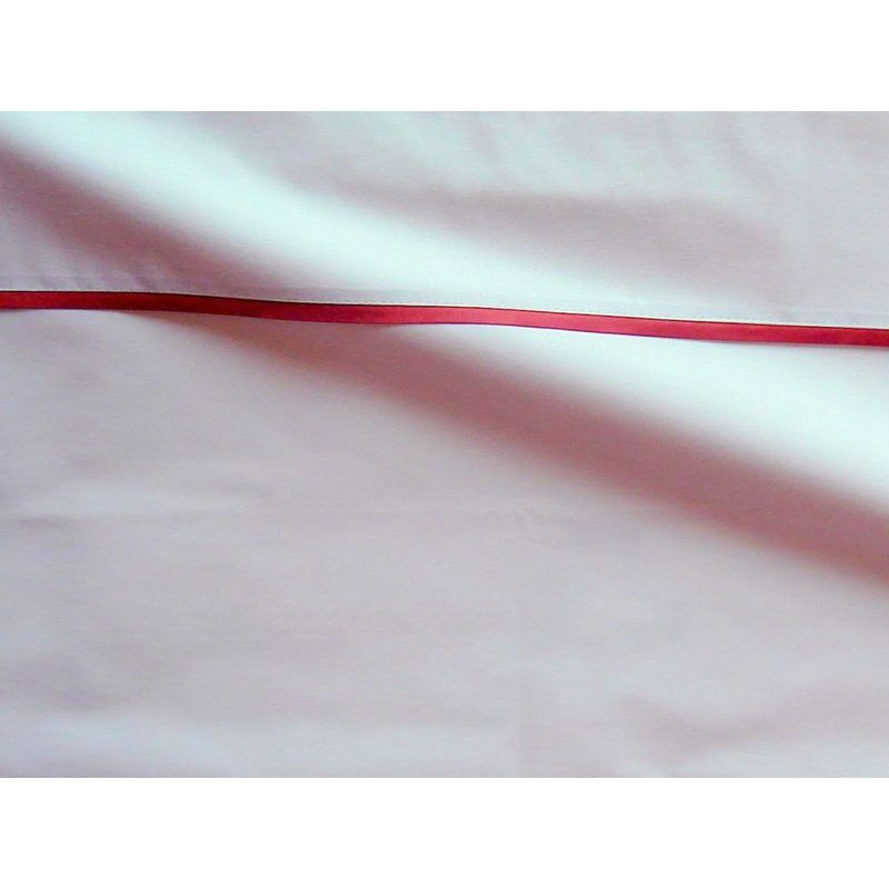 Drap plat percale coton blanche finition biais satin rouille 280x310cm CF1238.rouille Thevenon