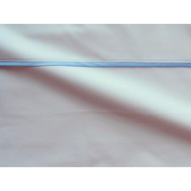 Parure de drap percale coton blanche finition biais satin bleu Thevenon