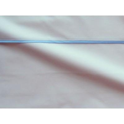 Housse de couette percale coton blanche finition biais satin bleu 260x240cm CF1246.bleu Thevenon