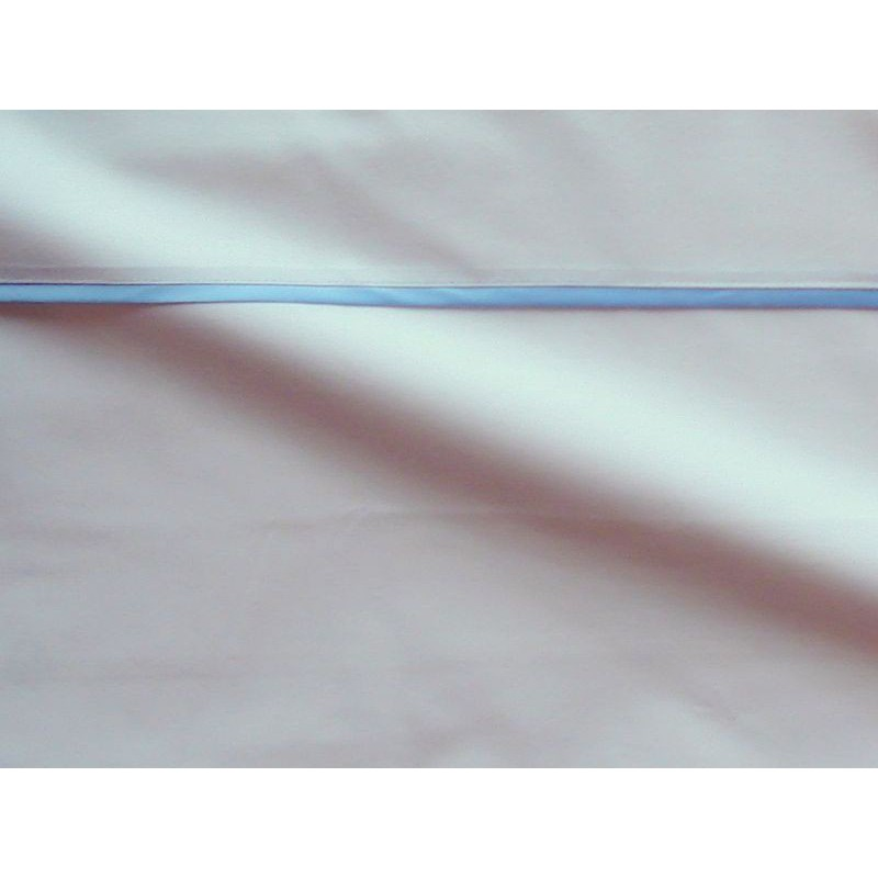 Housse de couette percale coton blanche finition biais satin bleu 200x200cm CF1244.bleu Thevenon