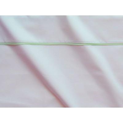 Parure de drap percale coton blanche finition biais satin tilleul Thevenon