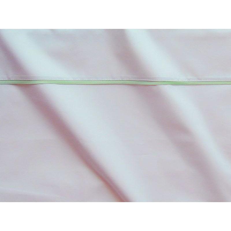 Housse de couette percale coton blanche finition biais satin tilleul 240x220cm CF1245.tilleul Thevenon
