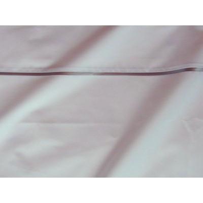 Parure de drap percale coton blanche finition biais satin gris Thevenon