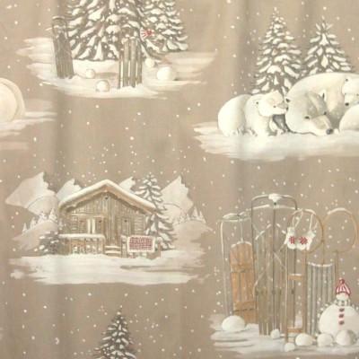 Blanc comme neige Tissu ameublement coton motif chalet Thevenon