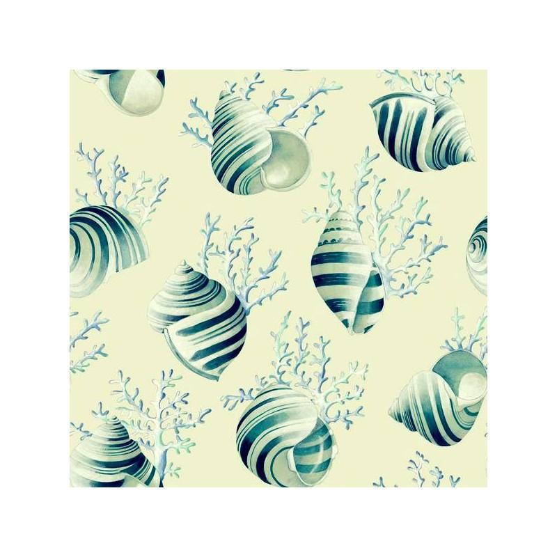 Ok corail 4 coloris Tissu ameublement coquillages coraux lagon fond creme L.280cm Thevenon 1689601 0215 le metre