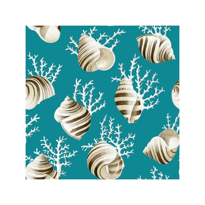 Ok corail Tissu ameublement coton coquillages et coraux fond turquoise L.280cm Thevenon 1689602 0215 le metre