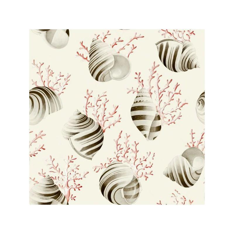 Ok corail Tissu ameublement coton coquillages et coraux rouge fond creme L.280cm Thevenon 1689603 0215 le metre