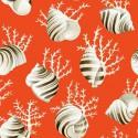 Ok corail Tissu ameublement coton coquillages et coraux fond saumon L.280cm Thevenon 1689604 0215 le metre