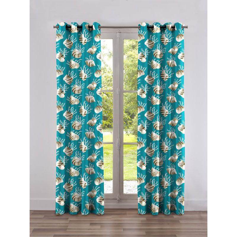 Ok corail Rideau a oeillets pret a poser coton fond turquoise Clair Fonce 1689602 0215 le rideau
