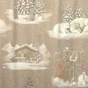 Blanc comme neige Tissu tapissier grande largeur motif chalet Thevenon